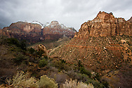 Dark clouds overshadow the vast landscape of Zion National Park