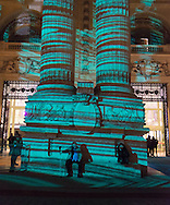 France. Paris Art Paris. Art Fair .in The Grand Palais. monumental digital work by Miguel Chevalier entitled The Origin of the World projected onto the façade of the Grand Palais  / art Paris, Art Fair Foire dans le Grand Palais. L'Origine du monde,  creation numerique monumentale de Miguel Chevalier projetee sur la façade du Grand Palais