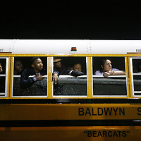 Lauren Wood   Buy at photos.djournal.com<br /> Members of the Baldwyn marching band stay dry while watching Friday night's game against Eupora from the bus.