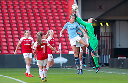 Manchester City's Jill Scott has a chance on goal saved by Arsenal goalkeeper Sari Van Veenendaal during the FA Women's Continental League Cup final at Bramall Lane, Sheffield.