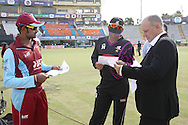 Kandurata Maroons captain Lahiru Thirimanne, Faisalabad Wolves captain Misbah-Ul-Haq and Match Referee Andy Pycroft check the teams before the toss during the Qualifier 5 match of the Karbonn Smart Champions League T20 (CLT20) between Faisalabad Wolves and the Kandurata Maroons held at the Punjab Cricket Association Stadium, Mohali on the 20th September 2013<br /> <br /> Photo by Shaun Roy/CLT20/SPORTZPICS<br /> <br /> <br /> Use of this image is subject to the terms and conditions as outlined by the CLT20. These terms can be found by following this link:<br /> <br /> http://sportzpics.photoshelter.com/image/I0000NmDchxxGVv4<br /> <br /> ENTER YOUR EMAIL ADDRESS TO DOWNLOAD