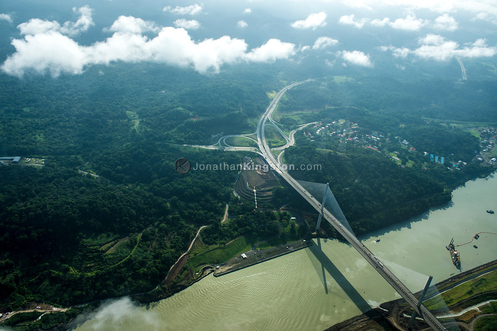Aerial view of the Centennial bridge crossing the Panama canal.