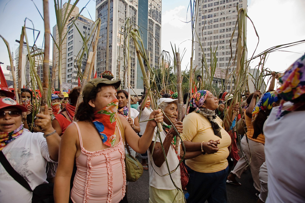 Landless Worker's women (MST), during the protests at the World March of Women and Anti-Bush protest, at São Paulo city.