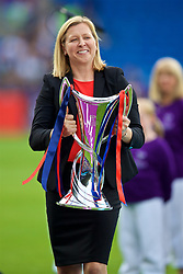 CARDIFF, WALES - Thursday, June 1, 2017: Wales team manager and Women's Champions League Ambassador Jayne Ludlow with the trophy before the UEFA Women's Champions League Final between Olympique Lyonnais and Paris Saint-Germain FC at the Cardiff City Stadium. (Pic by David Rawcliffe/Propaganda)
