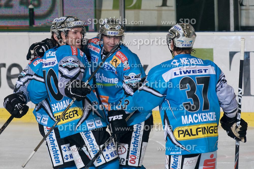 Team EHC Liwest Black Wings Linz celebrate goal during ice-hockey match between HDD Tilia Olimpija and EHC Liwest Black Wings Linz in 18th Round of EBEL league, on November 5, 2010 at Hala Tivoli, Ljubljana, Slovenia. (Photo By Matic Klansek Velej / Sportida.com)
