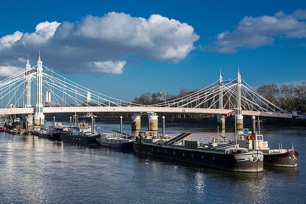 The ornate Albert Bridge spanning the River Thames in London