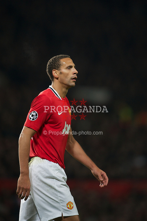 MANCHESTER, ENGLAND - Tuesday, November 22, 2011: Manchester United's Rio Ferdinand in action against SL Benfica during the UEFA Champions League Group C match at Old Trafford. (Pic by David Rawcliffe/Propaganda)