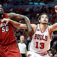 18 May 2011: Miami Heat center Joel Anthony (50) vies for the rebound with Chicago Bulls center Joakim Noah (13) during the Miami Heat 85-75 victory over the Chicago Bulls, during game 2 of the Eastern Conference finals at the United Center, Chicago, Illinois, USA.