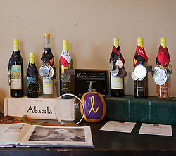 Display of numerous awards won by the Abacela Winery, Roseburg, OR.