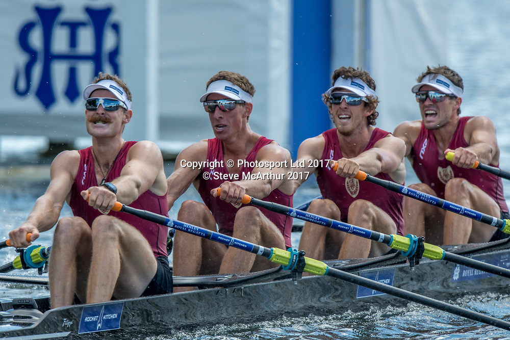 Lewis Hollows (West End RC), Cameron Crampton (Timaru RC), Nathan Flannery (Union Christchurch RC) and Giacomo Thomas (Hawkes Bay RC) NZ Mens Quadruple Scull competing at HRR2017  Henley on Thames, United Kingdom. Sunday 2nd July 2017. © Copyright Steve McArthur / www.photosport.nz