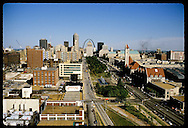 Aerial view of downtown St. Louis with Union Station and Market Street to right. Missouri