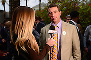 Jan 8, 2016; Scottsdale, AZ, USA; Clemson Tigers head coach Dabo Swinney (R) talks with ESPN reporter Samantha Ponder (L) after arriving to the Hyatt Regency Scottsdale Resort at Gainey Ranch. Mandatory Credit: Jennifer Stewart-USA TODAY Sports