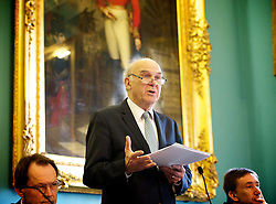"Rt Hon Vince Cable MP at the Institute of Directors, London, Great Britain, 15th April 2013..""No More than we deserve. The rights & wrongs of high & low pay ""..Presented by the High Pay Centre and the Resolution Foundation...Vince Cable MP ...John Vincent ""Vince"" Cable (born 9 May 1943) is a British Liberal Democrat politician who has been the Secretary of State for Business, Innovation and Skills since 2010 and the Member of Parliament for Twickenham since 1997, 15 April 2013. Photo by: Elliott Franks / i-Images"