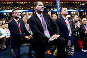 Law enforcement officers listen to Condoleeza Rice at the Republican National Convention in Tampa, Florida, August 29, 2012.