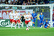 Lublin, Poland - 2017 June 16: (L) Patryk Lipski from Poland U21 and (R) Lukasz Moneta from Poland U21 in action while Poland v Slovakia match during 2017 UEFA European Under-21 Championship at Lublin Arena on June 16, 2017 in Lublin, Poland.<br /> <br /> Mandatory credit:<br /> Photo by &copy; Adam Nurkiewicz / Mediasport<br /> <br /> Adam Nurkiewicz declares that he has no rights to the image of people at the photographs of his authorship.<br /> <br /> Picture also available in RAW (NEF) or TIFF format on special request.<br /> <br /> Any editorial, commercial or promotional use requires written permission from the author of image.