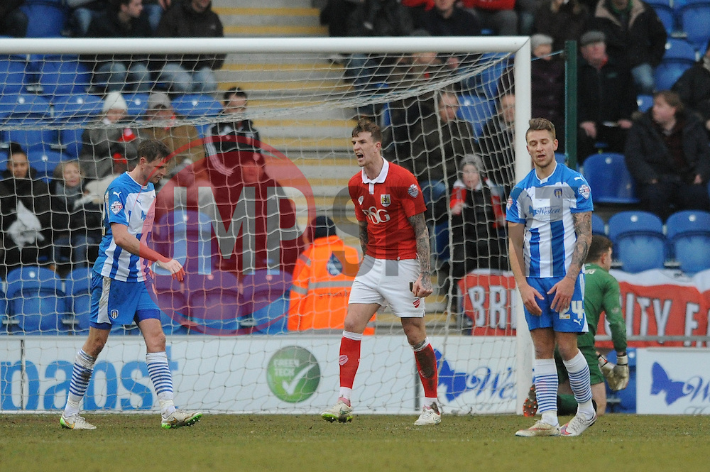 Bristol City's Aden Flint shouts at his defence - Photo mandatory by-line: Dougie Allward/JMP - Mobile: 07966 386802 - 21/02/2015 - SPORT - Football - Colchester - Colchester Community Stadium - Colchester United v Bristol City - Sky Bet League One