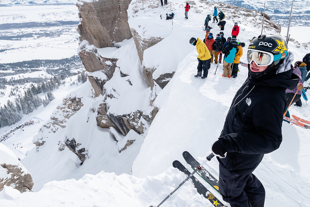 Aaron Blunck scopes the couloir.