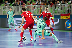 Romulo of Russia and Tunha of Portugal during futsal semifinal match between National teams of Russia and Portugal at Day 9 of UEFA Futsal EURO 2018, on February 8, 2018 in Arena Stozice, Ljubljana, Slovenia. Photo by Urban Urbanc / Sportida