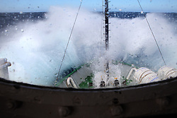 ATLANTIC OCEAN ABOARD ARCTIC SUNRISE 12MAY11 - Waves crash onto the bow of the Greenpeace ship Arctic Sunrise in the North Atlantic......Photo by Jiri Rezac / Greenpeace