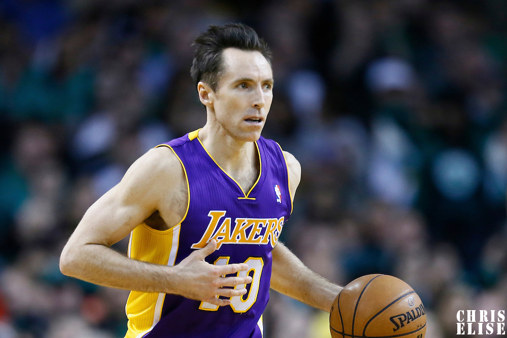 07 February 2013: Los Angeles Lakers point guard Steve Nash (10) brings the ball upcourt during the Boston Celtics 116-95 victory over the Los Angeles Lakers at the TD Garden, Boston, Massachusetts, USA.
