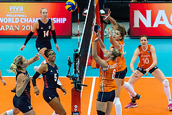 15-10-2018 JPN: World Championship Volleyball Women day 16, Nagoya<br /> Netherlands - USA 3-2 Karsta Lowe #24 of USA, Maret Balkestein-Grothues #6 of Netherlands, Juliet Lohuis #7 of Netherlands