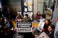 Roma 8 Aprile 2010.Manifestazione dei rifugiati afghani presso la sede del V Dipartimento del Comune di Roma, assessorato alle politiche sociali, in viale Manzoni, per chiedere che l'amministrazione comunale non interrompa l'assistenza ai circa 60 afghani senza tetto che da mesi sono ospitati in un padiglione dell'ospedale S.Camillo Forlanini..Rome, April 8, 2010.Manifestation of Afghan refugees at the headquarters of the Fifth Department of the City of Rome, Social Policy Department, Viale Manzoni, demanding that the municipal authorities do not stop assistance to about 60 Afghans homeless for months are housed in a pavilion S. Camillo Forlanini Hospital..Banner reads:Hospitality  to term?<br /> The rights do not expire