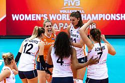 16-10-2018 JPN: World Championship Volleyball Women day 17, Nagoya<br /> Netherlands - China 1-3 / Britt Bongaerts #12 of Netherlands, Kirsten Knip #1 of Netherlands, Anne Buijs #11 of Netherlands
