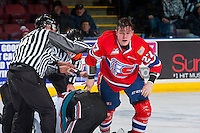 KELOWNA, CANADA - JANUARY 4: Braydyn Chizen #22 of the Kelowna Rockets drops the gloves with Riley McKay #27 of the Spokane Chiefs on January 4, 2017 at Prospera Place in Kelowna, British Columbia, Canada.  (Photo by Marissa Baecker/Shoot the Breeze)  *** Local Caption ***
