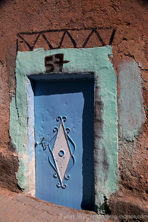 Africa, Morocco, Ouarzazate. Colorful blue Berber door.