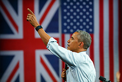 © Licensed to London News Pictures. 23/04/2016. London, UK. President of the United States BARACK OBAMA holding a Q&A session with young people at Lindley Hall, Royal Horticultural Society in central London on Saturday, 23 April 2016. Photo credit: Tolga Akmen/LNP