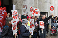 Part of the group of about 60 demonstrators outside Caxton House during a benefits sanctions protest at Department of Work and Pensions, Westminster.<br /> Picture by Paul Davey/Focus Images Ltd +447966 016296<br /> 09/03/2016