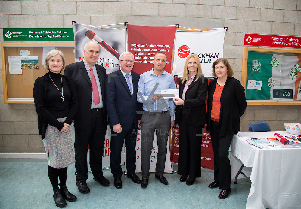 11.10.2016           <br /> Beckman Coulter Scholarship Limerick Institute of Technology. <br /> Pictured are left to right, Mary Morrin, Lecturer LIT, Patrick Power, Regional Development Beckman Coulter, Vincent Cunnane, President LIT, Eamon Heaney, 4th year student Bio Analysis and Biotechnology , Karen Kelly, HR manager, Beckman Coulter and Ann Murphy, LIT. Picture: Alan Place