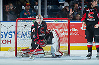 KELOWNA, CANADA - MARCH 14:  Taylor Gauthier #35 of the Prince George Cougars kneels in net against the Kelowna Rockets on March 14, 2018 at Prospera Place in Kelowna, British Columbia, Canada.  (Photo by Marissa Baecker/Shoot the Breeze)  *** Local Caption ***