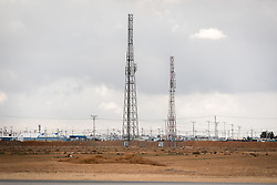 20 February 2020, Za'atari, Jordan: Transmission towers near the Za'atari Camp in Jordan.