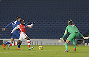 Glen Kamara tussles with Tom Dallison during the Barclays U21 Premier League match between Brighton U21 and Arsenal U21 at the American Express Community Stadium, Brighton and Hove, England on 1 December 2014.