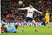 Son Heung-Min of Tottenham Hotspur (7) with shot on goal during the Premier League match between Tottenham Hotspur and Brighton and Hove Albion at Wembley Stadium, London, England on 13 December 2017. Photo by Matthew Redman.