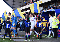 Players emerge from the tunnel at the Kassam Stadium as Tranmere Rovers take on Oxford United in the second round of the FA Cup - Photo mandatory by-line: Paul Knight/JMP - Mobile: 07966 386802 - 06/12/2014 - SPORT - Football - Oxford - Kassam Stadium - Oxford United v Tranmere Rovers - FA Cup Second Round