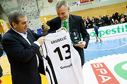 Roman Volcic and Grubelic during Slovenian basketball All Stars Grosuplje 2013 event, on December 29, 2013 in Arena Brinje, Grosuplje, Slovenia. (Photo By Urban Urbanc / Sportida.com)