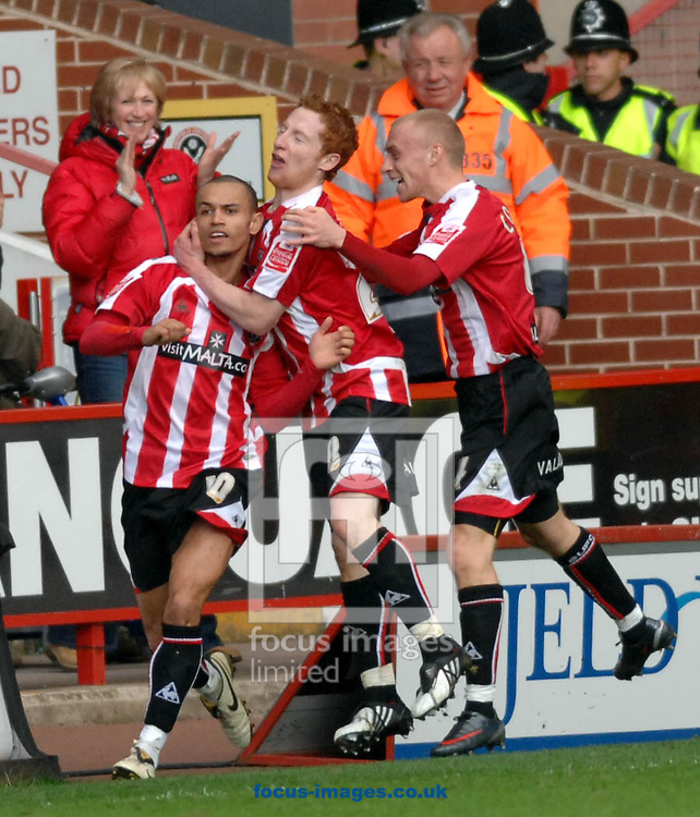 Sheffield - Sunday, March 1st, 2009:  Sheffield United celebrate Danny Webber's goal against Birmingham City's during the Coca Cola Championship match at Bramall Lane, Sheffield. (Pic by John Rushworth/Focus Images)