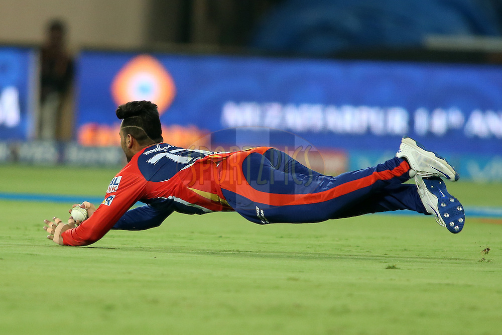 Rishabh Pant of Delhi Daredevils takes the catch to get Yuvraj Singh of Sunrisers Hyderabad wicket during match 42 of the Vivo IPL 2016 (Indian Premier League) between the Sunrisers Hyderabad and the Delhi Daredevils held at the Rajiv Gandhi Intl. Cricket Stadium, Hyderabad on the 12th May 2016<br /> <br /> Photo by Shaun Roy / IPL/ SPORTZPICS
