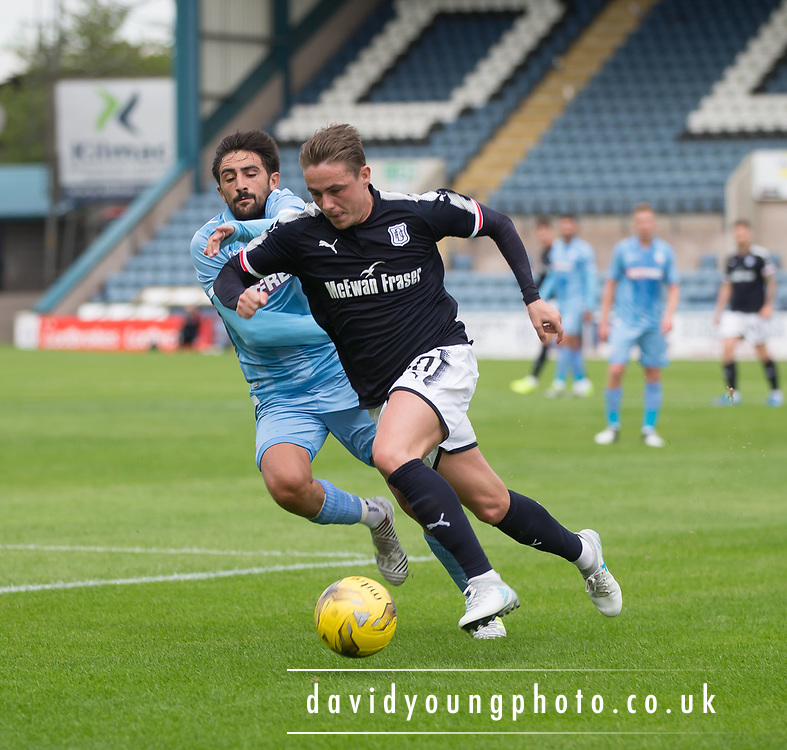 Dundee's Scott Allan goes past Bolton Wanderers' Jem Karacan - Dundee v Bolton Wanderers pre-seson friendly at Dens Park, Dundee, Photo: David Young<br /> <br />  - © David Young - www.davidyoungphoto.co.uk - email: davidyoungphoto@gmail.com