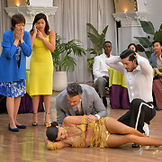 "Jane The Virgin -- ""Chapter Seventy-Six"" -- Image Number: JAV412a_0024.jpg -- Pictured (L-R): Ivonne Coll as Alba, Gina Rodriguez as Jane, Jaime Camil as Rogelio, Andrea Navedo as Xo and George Akram as Brad -- Photo: Lisa Rose/The CW -- © 2018 The CW Network, LLC. All Rights Reserved."