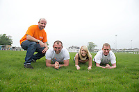 Five charities have issued a challenge to sporting enthusiasts in Galway to join them in a fundraising Guinness world record attempt &ndash; &lsquo;We&rsquo;re Planking it&rsquo;.<br /> The record which they are attempting to break is for the most people holding the abdominal plank position. It is being undertaken under the stewardship of local couple Sene and George Naoupu and a team of fitness instructors from their health and lifestyle business.<br /> The benefiting charities include Self Help Africa, the Irish Heart Foundation, COPE Galway, ACT for Meningitis and Special Olympics Connaught.<br /> Hurler Ollie Canning  and John Muldoon , Connacht Rugby Captain and  Maire Treasa Ni Dhubhghaill TG4 with Micheal Carty Special Olympics. Photo: andrew downes