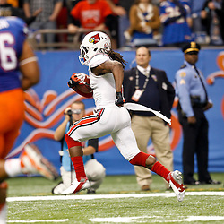 Jan 2, 2013; New Orleans, LA, USA; Louisville Cardinals cornerback Terell Floyd (19) returns an interception for a touchdown during the first quarter of the Sugar Bowl against the Florida Gators at the Mercedes-Benz Superdome.  Mandatory Credit: Derick E. Hingle-USA TODAY Sports
