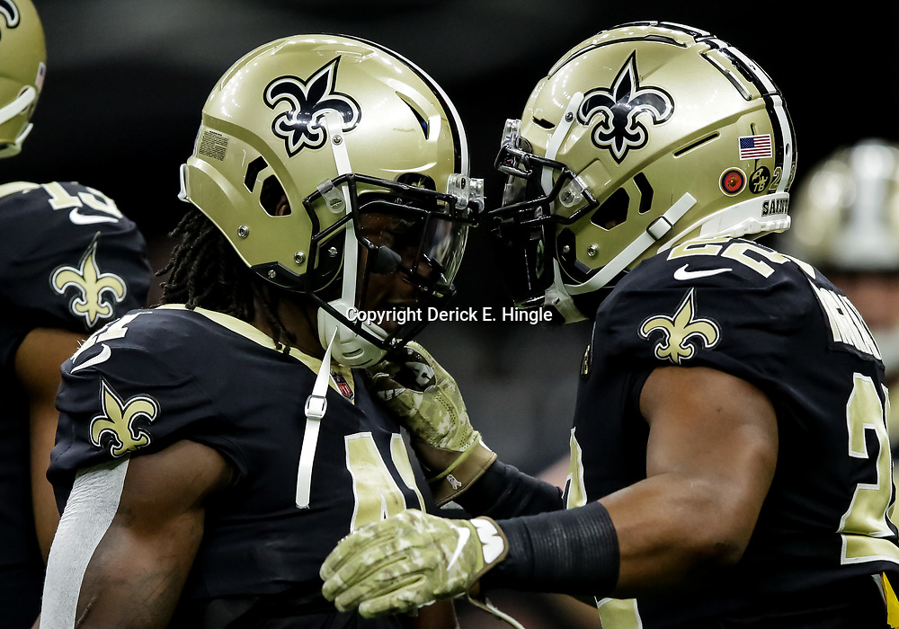 Nov 4, 2018; New Orleans, LA, USA; New Orleans Saints running back Alvin Kamara (41) and running back Mark Ingram (22) prior to kickoff against the Los Angeles Rams at the Mercedes-Benz Superdome. Mandatory Credit: Derick E. Hingle-USA TODAY Sports