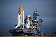 CAPE CANAVERAL, FL - MARCH 31:  Space Shuttle Atlantis rolls atop the crawler transporter out to launch pad 39-a at the Kennedy Space Center in Cape Canaveral, Florida, March 31, 2009. Atlantis is scheduled for a May launch to repair the Hubble Space Telescope. (Photo by Matt Stroshane/Getty Images)
