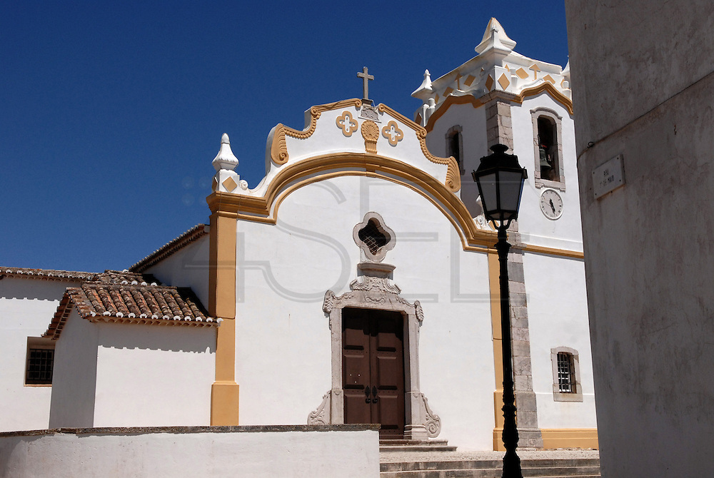 Vila do Bispo, Algarve is a small village near the coast, at the most south westerly corner of Portugal. The main church of the village.