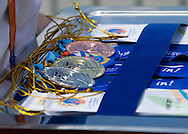 Medals after cycling competition during 2011 Special Olympics World Summer Games Athens on June 27, 2011..The idea of Special Olympics is that, with appropriate motivation and guidance, each person with intellectual disabilities can train, enjoy and benefit from participation in individual and team competitions...Greece, Athens, June 27, 2011...Picture also available in RAW (NEF) or TIFF format on special request...For editorial use only. Any commercial or promotional use requires permission...Mandatory credit: Photo by © Adam Nurkiewicz / Mediasport
