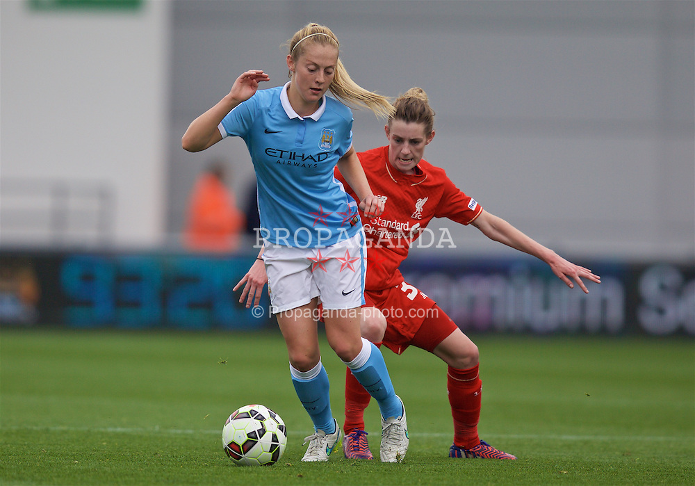 MANCHESTER, ENGLAND - Sunday, August 30, 2015: Manchester City's Keira Walsh and Liverpool's Hannah Dale during the League Cup Group 2 match at the Academy Stadium. (Pic by Paul Currie/Propaganda)