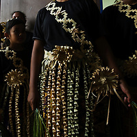 Malaysia's Indigenous women of Temuan tribe prepare to perform at the World's Indigenous People Day Celebration in Shah Alam, Malaysia